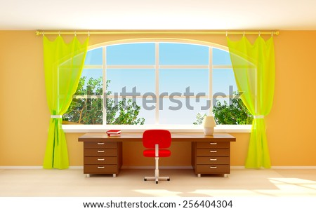 Interior of director office with big half-round window. Cartoon style. 3d illustration - stock photo