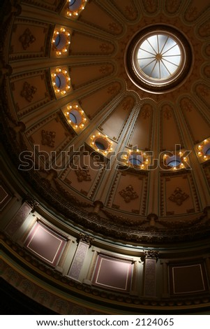 interior of dome at california state capitol - stock photo