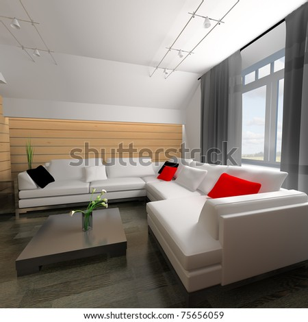 interior of drawing room 3d rendering