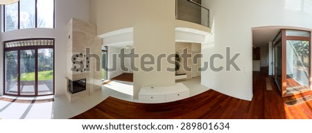 Interior of elegant luxury detached house - panorama