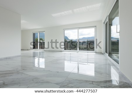 Interior Of Empty Apartment, Wide Room With Marble Floor Part 36