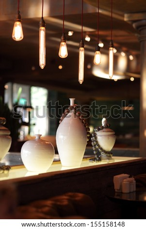 Interior of empty cafe in the evening - stock photo