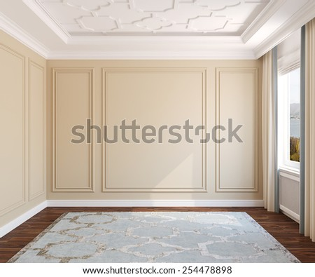 Interior of empty room. 3d render. Photo behind the window was made by me. - stock photo