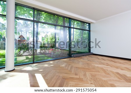 Interior of empty room with a view