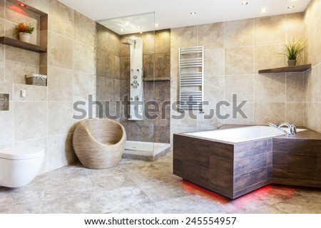Interior of expensive and brown bathroom, horizontal