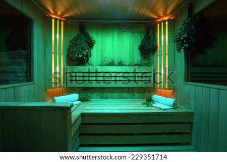 Interior of Finnish sauna, classic wooden sauna, with a relaxing green - stock photo