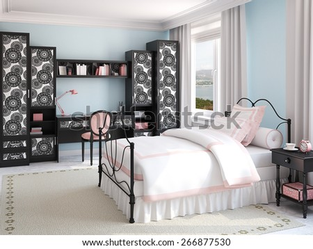 Interior of girl's bedroom. 3d rendering. Photo behind the window was made by me. - stock photo