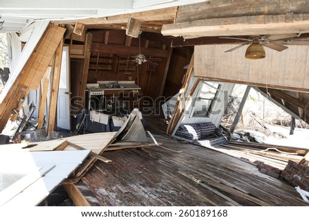 interior of home destroyed in hurricane - stock photo