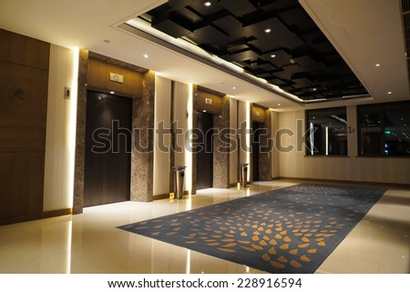 Interior of Hotel corridor - stock photo