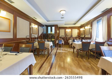 Interior of hotel restaurant