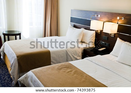 interior of hotel room - two bed room