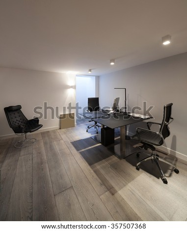 Interior of house, modern office with furniture design