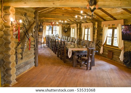 Interior of hunter's house - stock photo