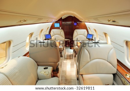 Interior of jet airplane