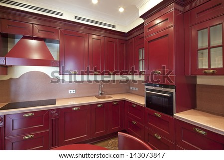 Interior of kitchen in classic style