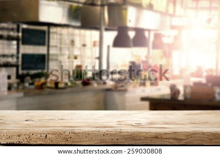 interior of kitchen in restaurant and napkin and desk space  - stock photo