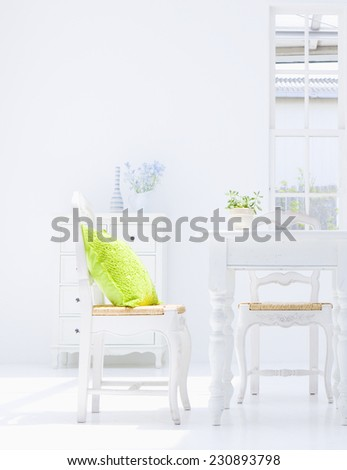 interior of kitchen with a table - stock photo