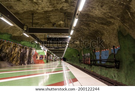 Interior of Kungstradgarden metro station of Stockholm, Sweden - stock photo