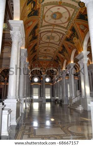 Interior of Library of Congress, Washington DC,USA - stock photo
