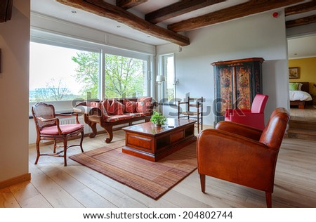 interior of living room in countryside villa  - stock photo