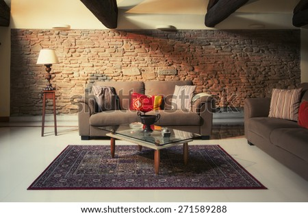 interior of living room in countryside villa in Italian style