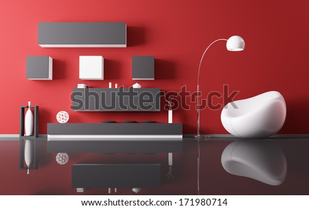 Interior of living room with armchair 3d render - stock photo
