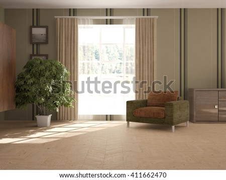Interior of living room with armchair  green flower - 3D illustration