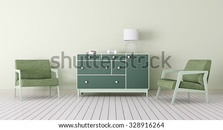 Interior of living room with chest of drawers, two armchairs 3d render - stock photo