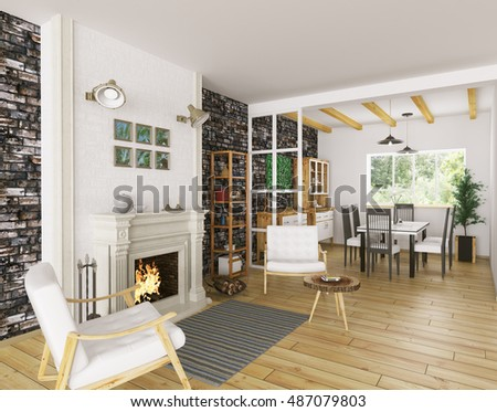 Interior of living room with fireplace and dining room 3d rendering