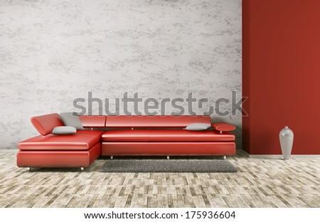 Interior of living room with red sofa 3d render - stock photo