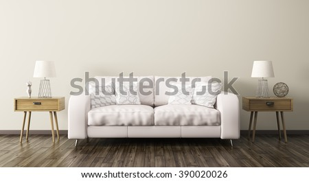interior of living room with sofa and two wooden side tables 3d render