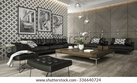 Interior of living room with stylish wallpaper 3D rendering - stock photo