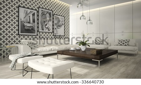 Interior of living room with stylish wallpaper 3D rendering 5  - stock photo