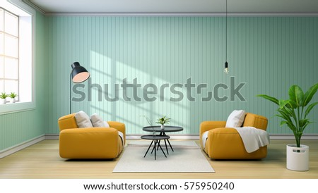 Interior Of Living Room With Yellow Sofa And Black Coffee Table, Lamps And  Green Wall Part 98