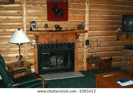 Interior of log cabin - stock photo