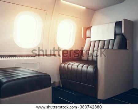 Interior of luxury airplane. Empty leather chair, sunlight illuminator. Horizontal mockup. 3d render - stock photo
