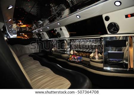 interior of luxury limousine car