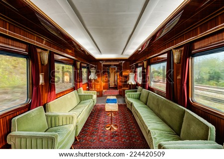 interior luxury vinitage old train carriage stock photo royalty free 224420509 shutterstock. Black Bedroom Furniture Sets. Home Design Ideas