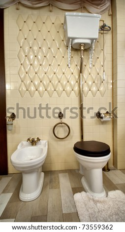 Interior of luxury vintage bathroom in resort apartment