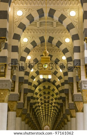 Interior of Masjid (mosque) Nabawi in Al Madinah, Saudi Arabia. - stock photo