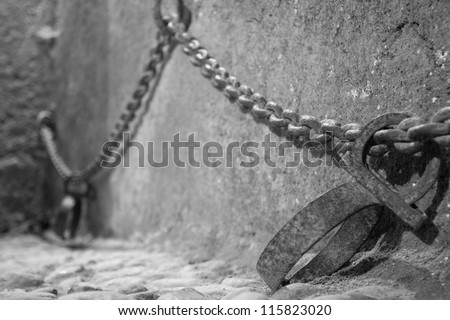 Interior of Medieval Arabic Prison in Kasbah of Chefchaouen, Morroco, Africa - stock photo