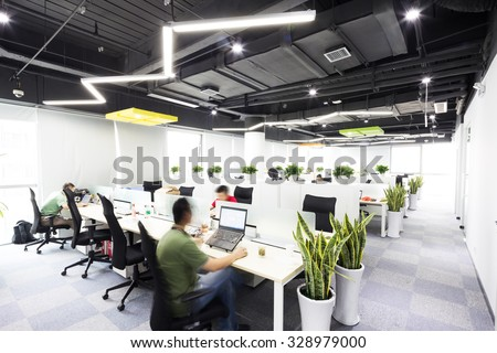 interior of moder office - stock photo