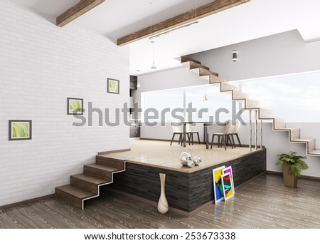 Interior of modern apartment 3d render - stock photo
