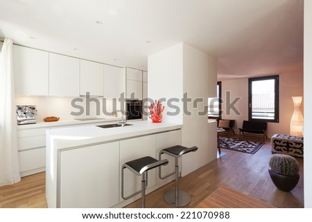 Interior of modern apartment furnished, kitchen - stock photo