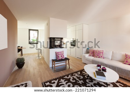 Interior of modern apartment furnished, living room - stock photo