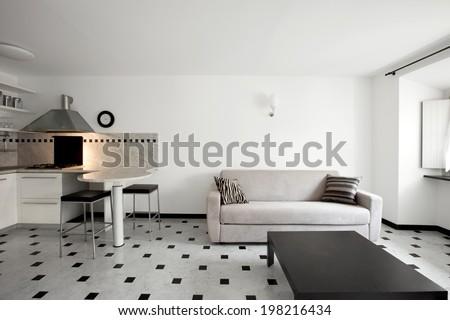 Interior of modern apartment, kitchen - stock photo