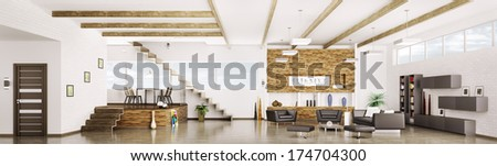 Interior of modern apartment living dining room hall  panorama 3d render - stock photo