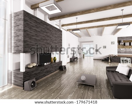 Interior of modern apartment living room hall  kitchen - stock photo