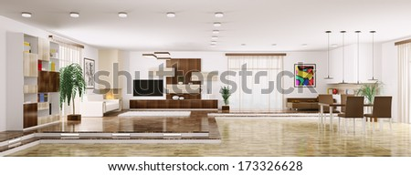 Interior of modern apartment living room panorama 3d render - stock photo