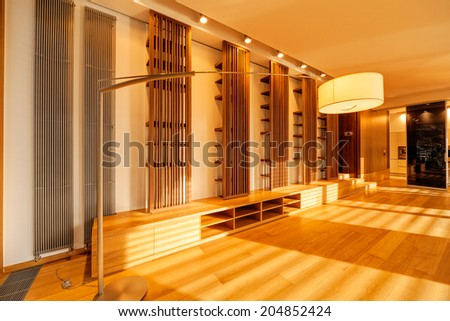 Interior of modern apartment with empty living room